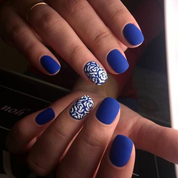 matte blue nails - Blue Long Nails Design